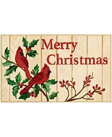 "Merry Christmas Cardinal 18"" x 30"" Accent Rug"