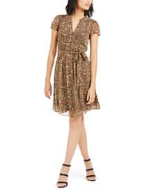 MSK Petite Printed Pleated Fit & Flare Dress