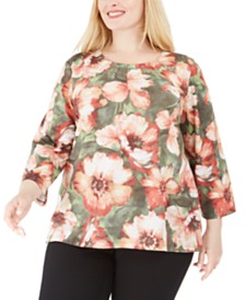 Alfred Dunner Plus Size Cedar Canyon Embellished Floral-Print Top