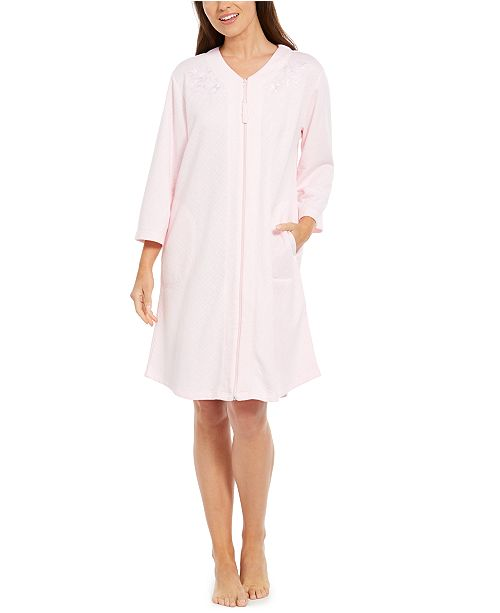 Miss Elaine Embroidered Quilted Zipper Robe