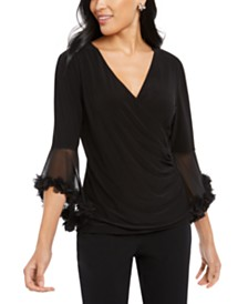 MSK Statement-Sleeve Surplice Top