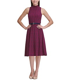 Jersey Mock-Neck Plaid Dress