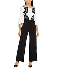 Bell-Sleeve Lace-Trim Jumpsuit