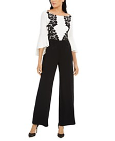 MSK Bell-Sleeve Lace-Trim Jumpsuit