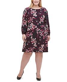 Plus Size Floral Jersey A-Line Dress