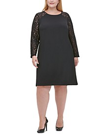 Plus Size Lace-Sleeve A-Line Dress