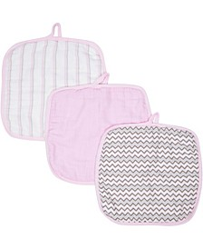 Boys and Girls Muslin Washcloths - Pack of 3