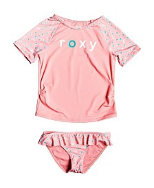 Roxy Little Girl Splash Party Short Sleeve Two Piece Lycra Set