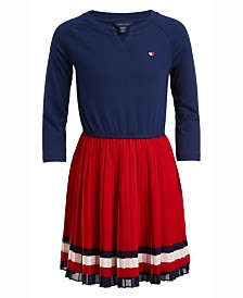 Tommy Hilfiger Big Girls Striped Jersey Chiffon Dress