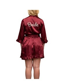 Wedding Prep Gals 'Bride' Embroidered Ruffled Robe, Online Only