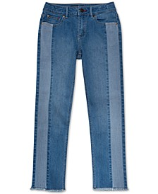 Big Girls Contrast Stripe Frayed Hem Jeans