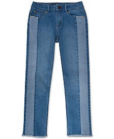 Tommy Hilfiger Big Girls Contrast Stripe Frayed Hem Jeans