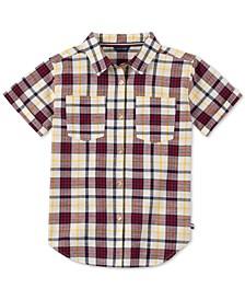 Big Girls Cotton Plaid Short Sleeve Shirt