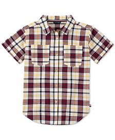 Tommy Hilfiger Big Girls Cotton Plaid Short Sleeve Shirt