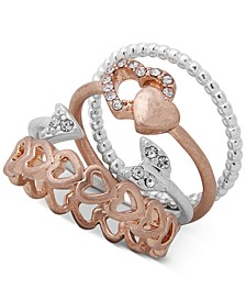 Two-Tone 4-Pc. Set Pavé Heart Stack Rings