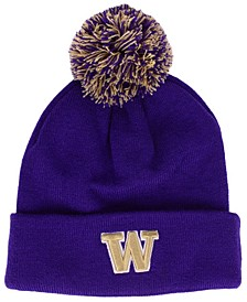 Washington Huskies Basic Team Color Pom Knit Hat