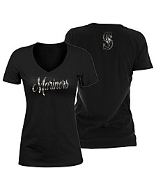 Women's Seattle Mariners Black Foil V-Neck T-Shirt