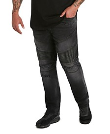 MVP Collections Men's Big and Tall Denim Destructed Biker Jeans