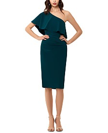 XSCAPE One-Shoulder Ruffle Dress