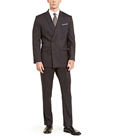 Men's Slim-Fit Stretch Dark Grey Pinstripe Double Breasted Suit