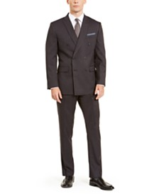 Perry Ellis Men's Slim-Fit Stretch Dark Grey Pinstripe Double Breasted Suit