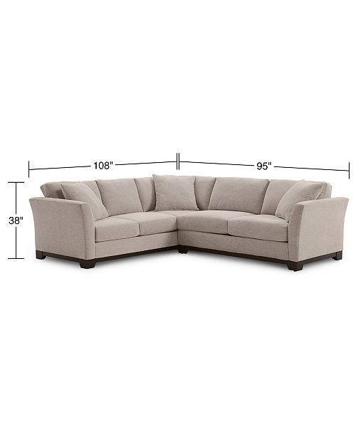 Fabric 2 Pc Apartment Sectional Sofa