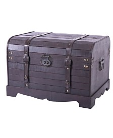 Vintiquewise Antique Style Black Wooden Steamer Trunk, Coffee Table