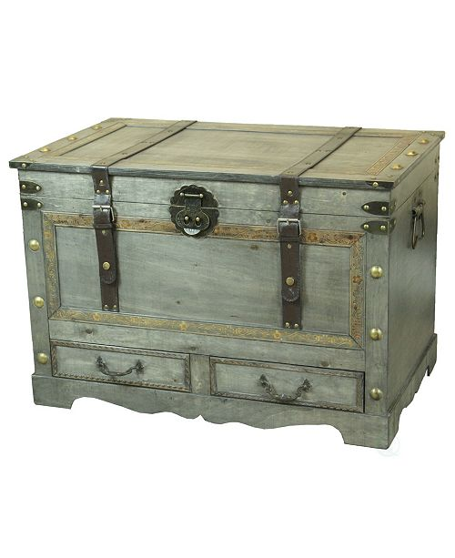 Vintiquewise Rustic Gray Large Wooden Storage Trunk Coffee Table with Two Drawers
