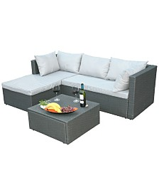 Gardenised Outdoor Patio Garden Contemporary Sectional Sofa with Cushion and Ottoman/Coffee Table
