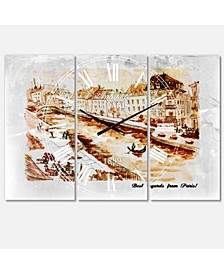 French Country 3 Panels Metal Wall Clock