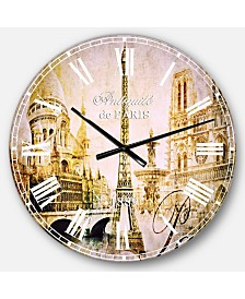 Designart Cityscape Digital Oversized Round Metal Wall Clock