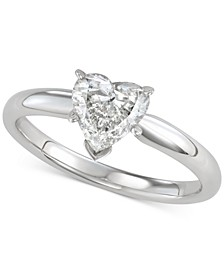 Diamond Heart-Cut Solitaire Engagement Ring (1 ct. t.w.) in 14k White Gold