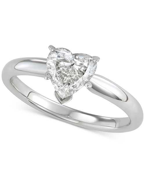 Macy S Diamond Heart Cut Solitaire Engagement Ring 1 Ct T W In 14k White Gold Reviews Rings Jewelry Watches Macy S