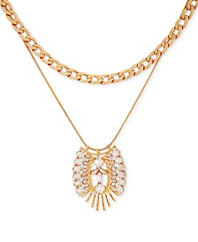 "GUESS Gold-Tone Crystal Double-Chain Pendant Necklace, 20"" + 2"" extender"