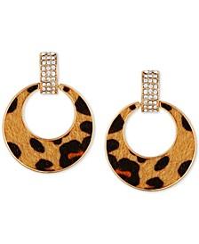 Gold-Tone Pavé & Cheetah-Print Faux-Fur Animal Print Drop Hoop Earrings
