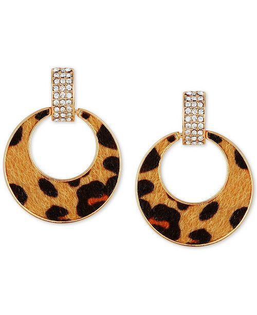 GUESS Gold-Tone Pavé & Cheetah-Print Faux-Fur Animal Print Drop Hoop Earrings