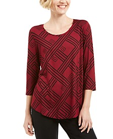 3/4-Sleeve Printed Top, Created for Macy's