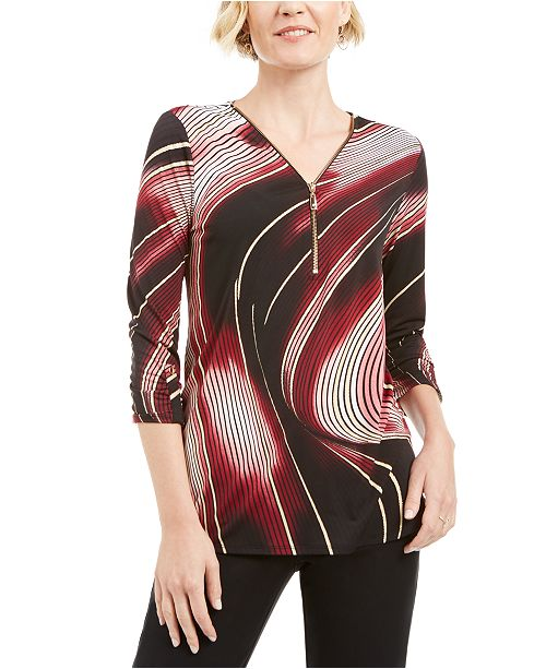 JM Collection Petite Printed Zip-Neck Top, Created for Macy's