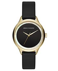 Women's Harper Black Leather Strap Watch 38mm