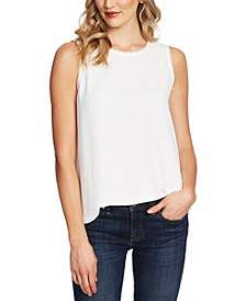 Dot-Trim Sleeveless Top