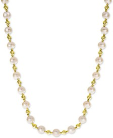 """Cultured Freshwater Pearl (8mm) & Bead 18"""" Collar Necklace in 14k Gold-Plated Sterling Silver"""