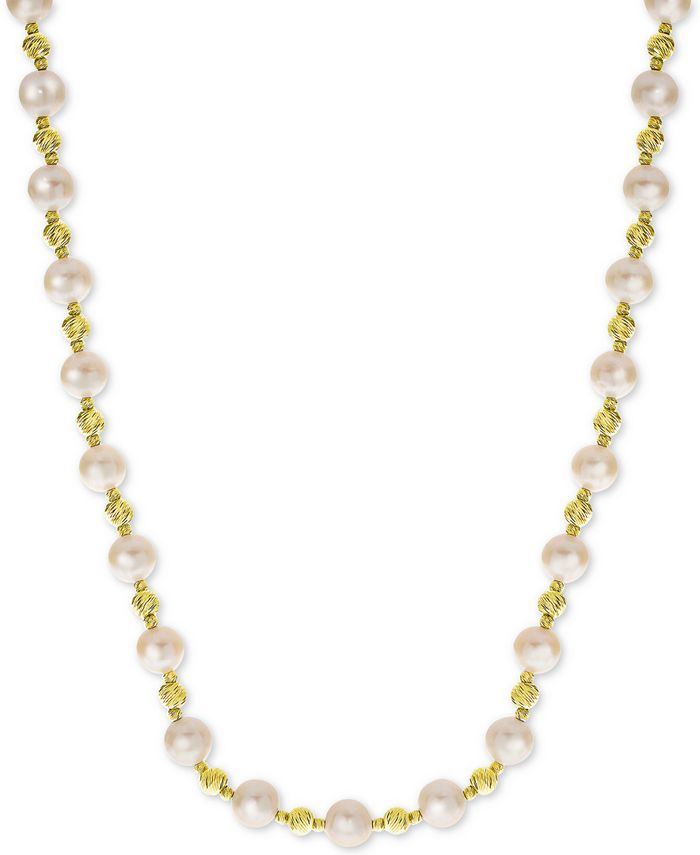 """Macy's - Cultured Freshwater Pearl (8mm) & Bead 18"""" Collar Necklace in 14k Gold-Plated Sterling Silver"""