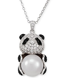"Multi-Gemstone Panda 17"" Pendant Necklace in Sterling Silver"