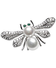 Cultured Freshwater Pearl (8mm & 9mm) & Cubic Zirconia Bee Pin in Sterling Silver
