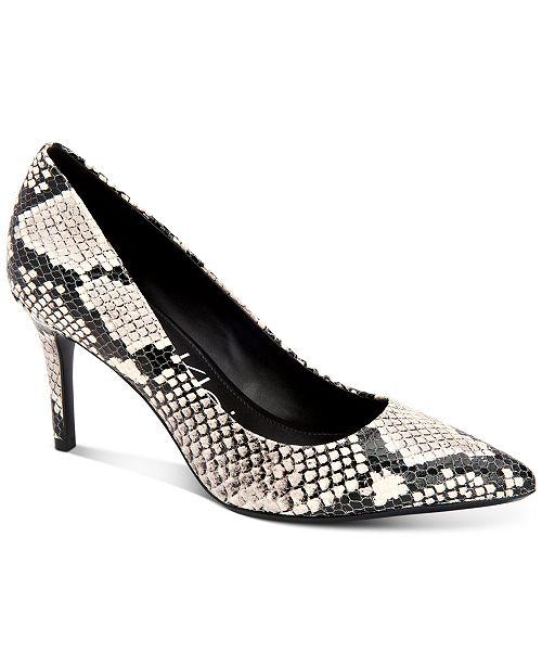 Calvin Klein Women's Gayle Snakeskin-Print Stiletto Pumps