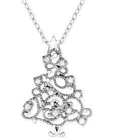 "Diamond (1/10 ct. t.w.) Christmas Tree 18"" Pendant Necklace in Sterling Silver"