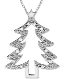 "Diamond Christmas Tree 18"" Pendant Necklace (1/10 ct. t.w.) in Sterling Silver"