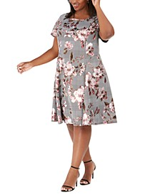 Plus Size Metallic Floral & Plaid Dress