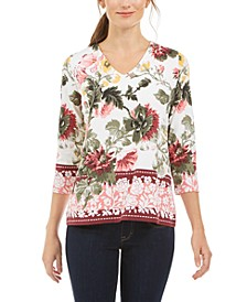 Garden Printed V-Neck Top, Created for Macy's