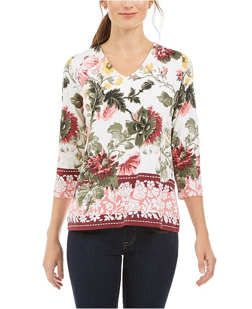 Charter Club Garden Printed V-Neck Top, Created for Macy's
